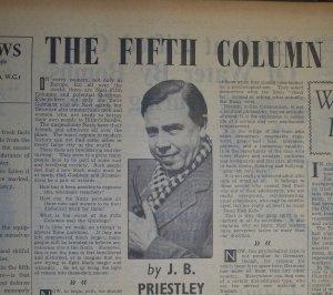 Priestley's byline image in Reynolds News, 1940